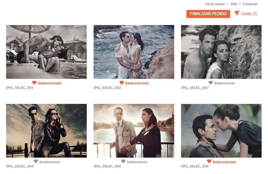 Selección de fotos desde casa en tu web