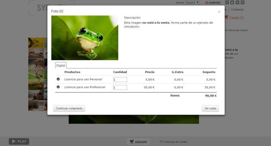 Ejemplo de venta de fotos con descarga