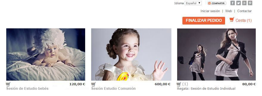 Ejemplo de venta de productos y servicios fotográficos