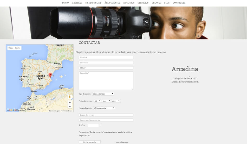 Mostrar los datos de contacto del fotógrafo