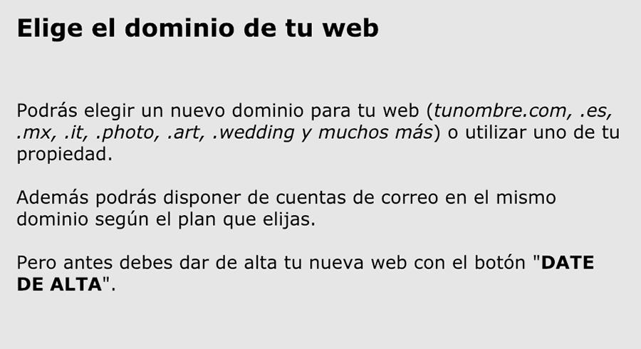 Elije el dominio de tu web de fotografía