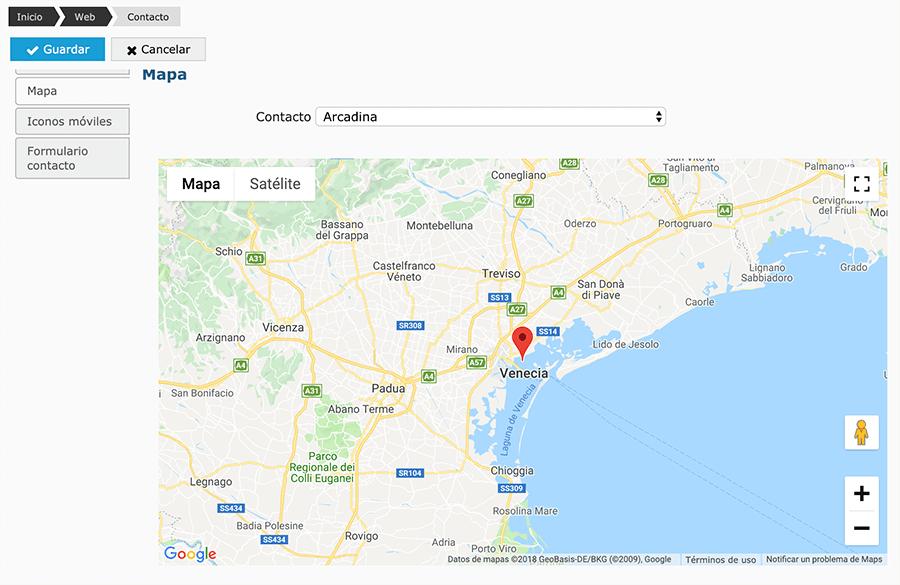 mapa de situación de una web de fotografía