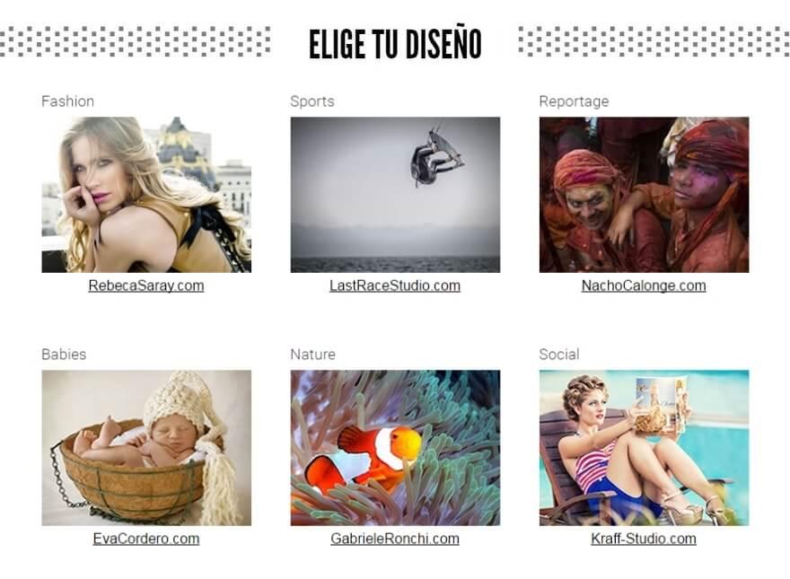 Elige tu diseño web de fotografía