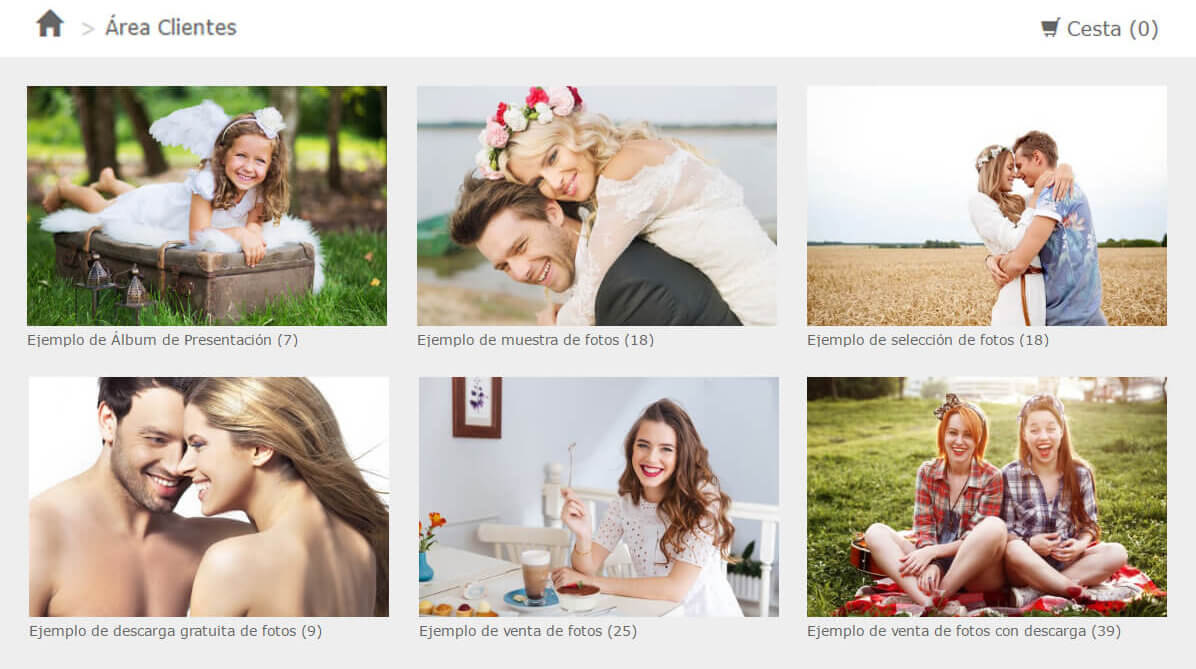 Galerías de fotos privadas para clientes