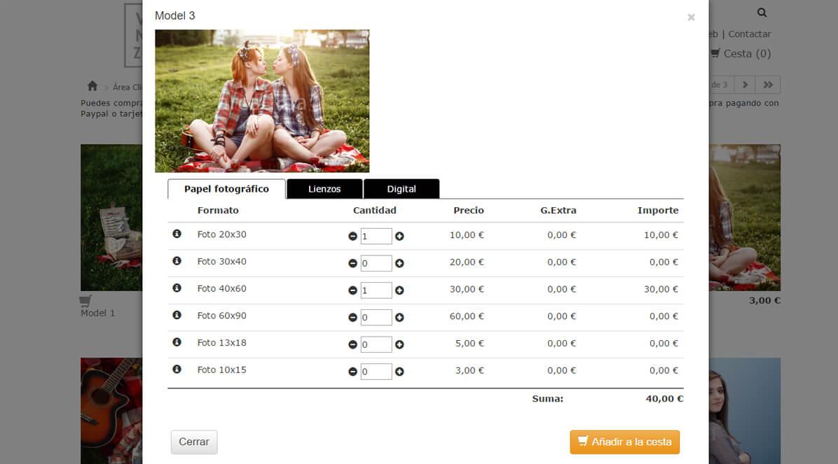 Carrito de venta de fotos con pago electrónico y descarga digital