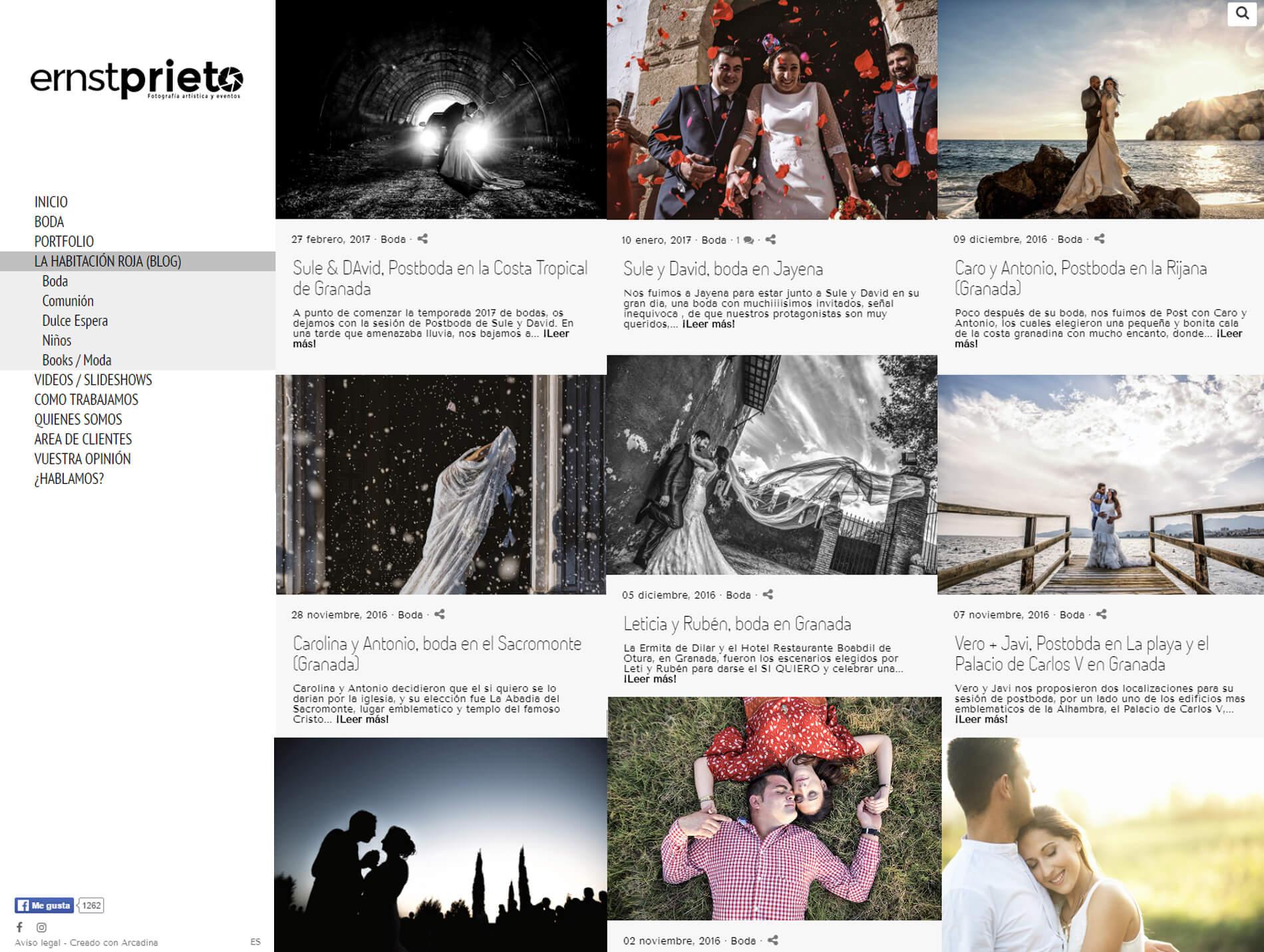Web de Ernesto Prieto Fotografía. Fotógrafo de bodas en Granada