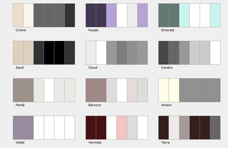 Paletas de colores de Arcadina (II)