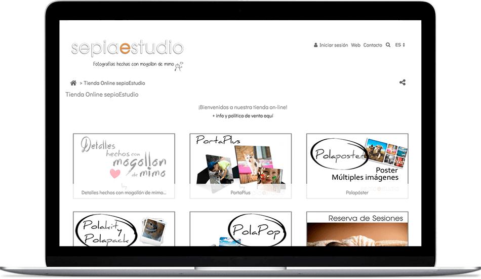 web con venta de servicios fotográficos de Sepia Estudio