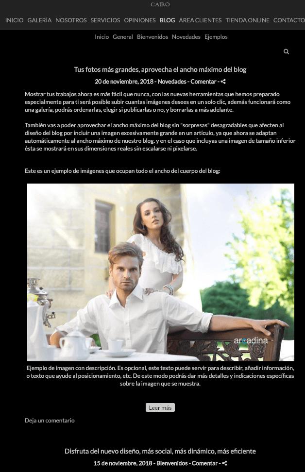 Ejemplo de blog de fotografía con diseño Classic