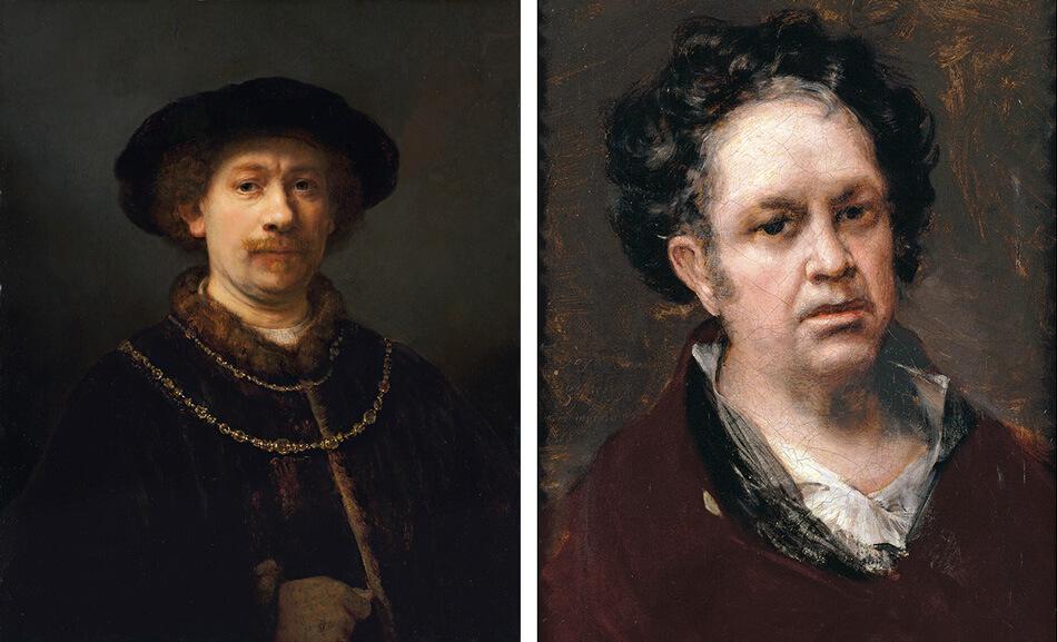 Autoretratos de Rembrandt y Goya