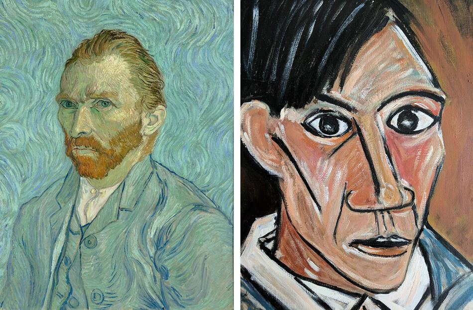 Autoretratos de Van Gogh y Pablo Picasso