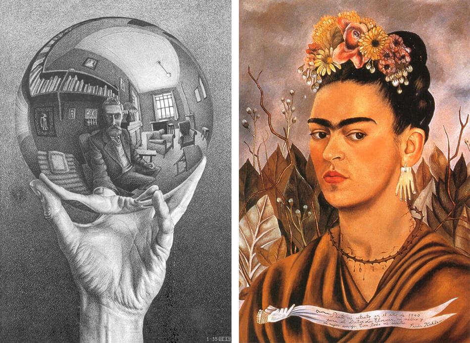 Autoretratos de M.C. Escher y Frida Kahlo