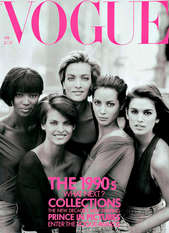 Portada de British Vogue de enero de 1990