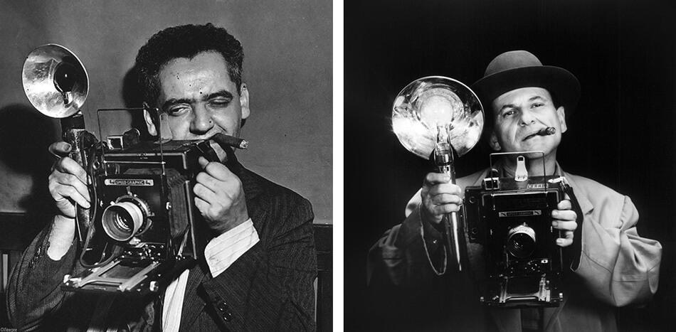 Retrato de Weegee y Joe Pesci caracterizado como el gran Bernzy